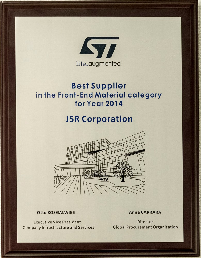 Received Award from ST Microelectronics as best supplier of Front End Materials for 2014